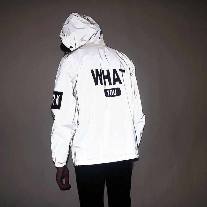 Aolamegs Men Reflective Jacket Funny Letter Printed Thin Windbreaker Waterproof Jacket Hip Hop Zipper Hooded Sportswear