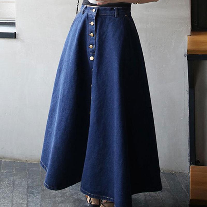 d27a154d6a Button Front Long Skirt Jeans Saias A Line Casual Skirt With Pockets Women  Summer Style Jean Skirt Long High Waist Danim Skirt-in Skirts from Women's  ...
