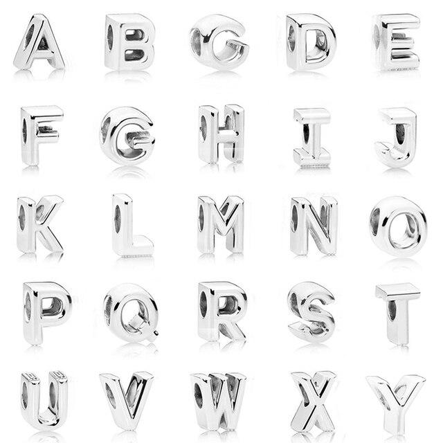 Посеребренные бусины Шарм инициалы Буквы Алфавита A-Z бисера Fit оригинальные Подвески Пандора браслет для Для женщин Diy ювелирных изделий