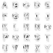 1c2aa2868ebe Plateado perlas encanto inicial del alfabeto letra A-Z Pandora encantos  pulsera para las mujeres Diy joyería