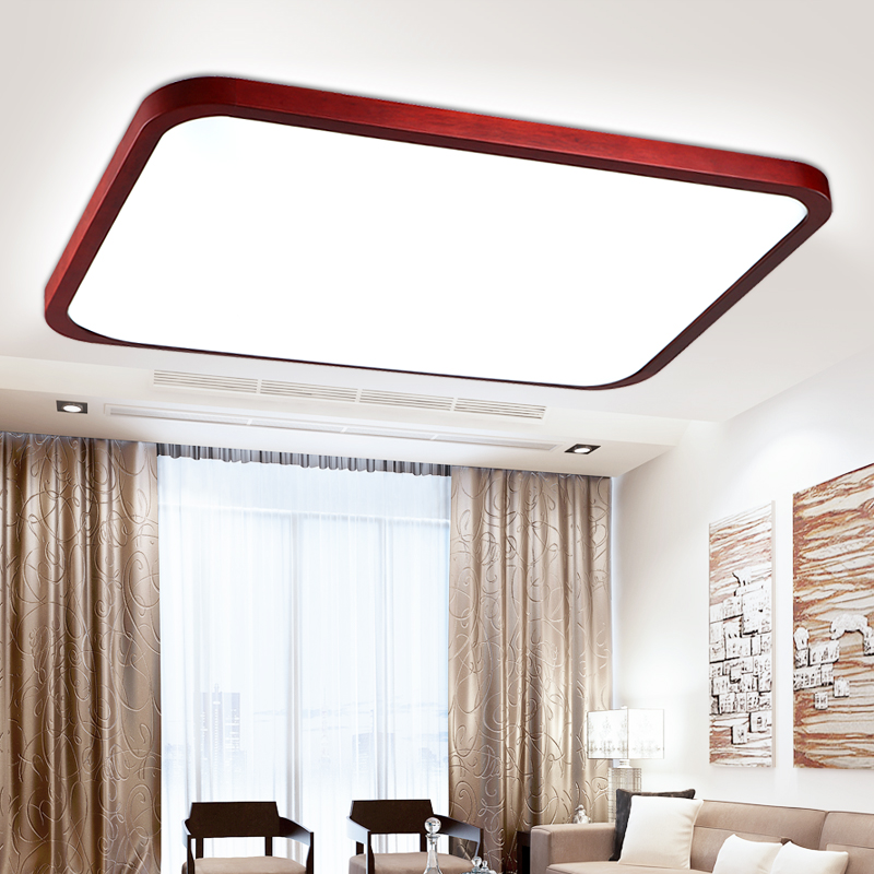 ФОТО Chinese red wood LED ceiling light fixture modern brief rectangle acrylic ceiling lamps home deco apple remote control lamp