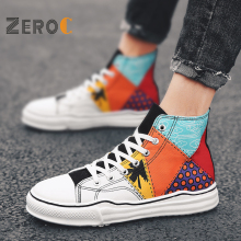 ZeroC Authentic Colorful Tropical Man High Classic Sneakers Men Skateboarding Shoes Canvas Low-Top Sport Casual Shoes цена 2017