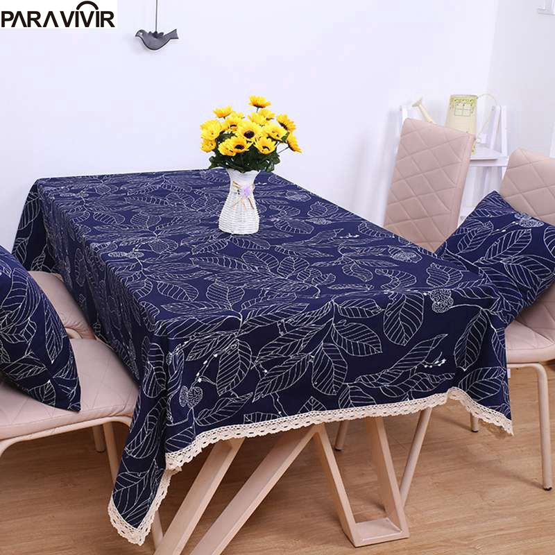 Fashion Solid Linen Cotton Table Cloth Rectangular Lace Edge Tablecloth Thicker Dustproof Coffee Table Covers Toalha