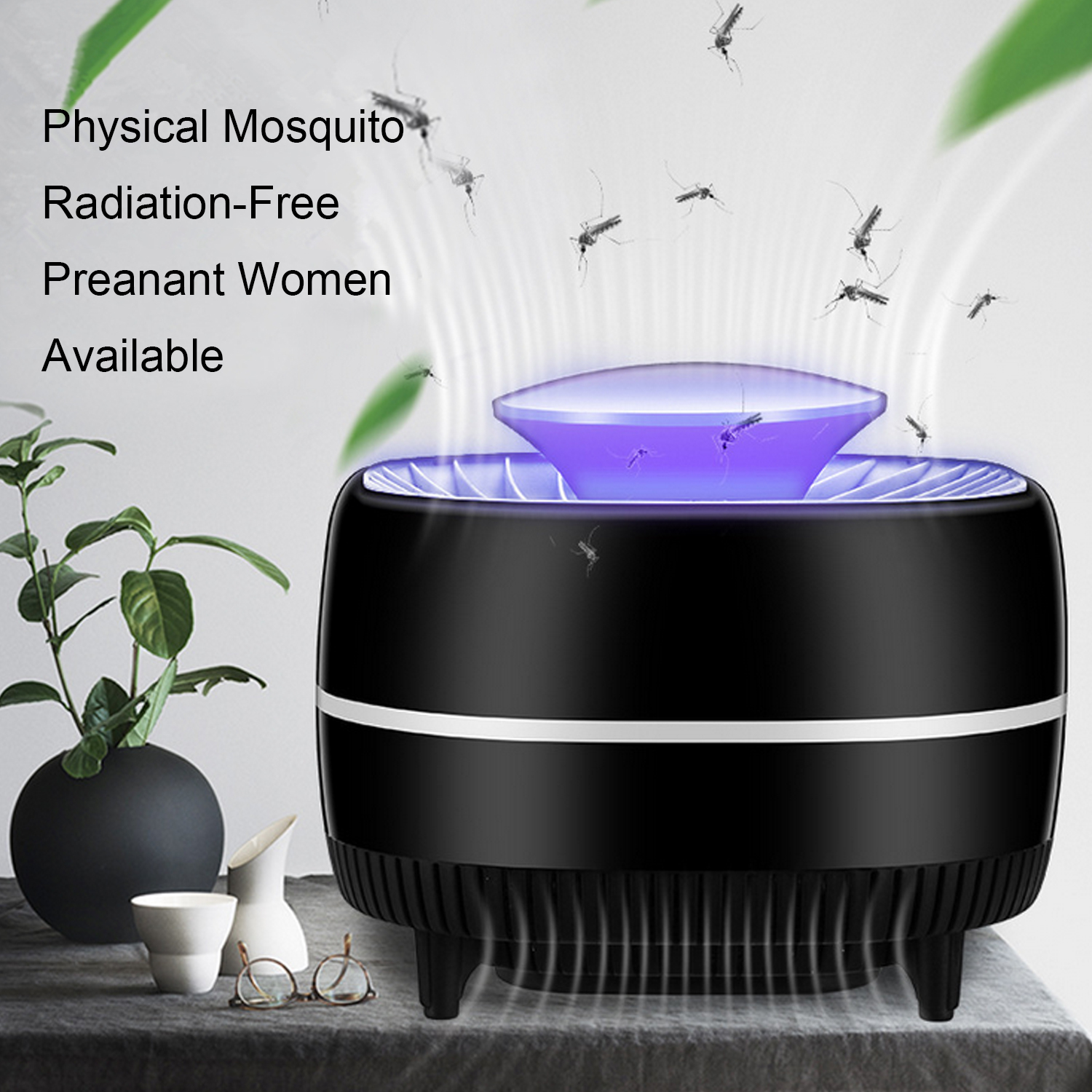 Behogar USB Powered Suck-in Electric Silent LED Anti Mosquito Killer Trap Light Lamp Pest Control Trap Fly Repellent Catcher image