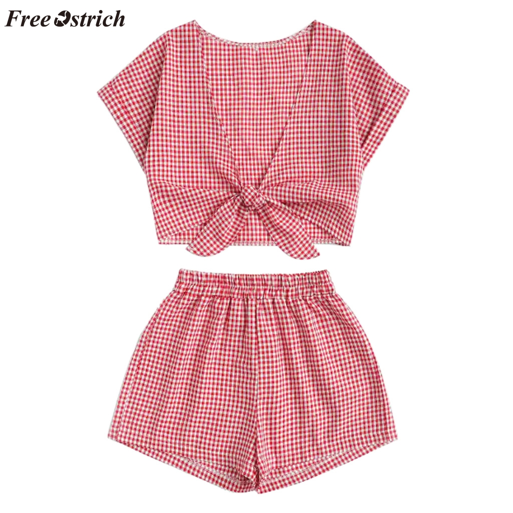 FREE OSTRICH 2019 new summer fashion women's comfortable leisure vacation sea beach print   short  -sleeved   shorts   suit hot sale