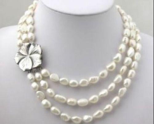 >>>@@ DEL ENVÍO LIBRE>>>>>> Caliente venta nuevo Estilo 3 Filas de Agua Dulce Blanco Collar de Perlas 9-10mm 18-20''