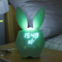 Modern Rabbit Shaped Alarm Clock Multifunction Table Clocks Home Decoration LED Light Digital Years Month Date Intelligent Watch