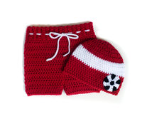 Crochet Baby Soccer Outfit SOCCER HAT SHORTS Football Crochet Soccer Baby Beanie Soccer Baby Knit Hat