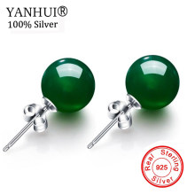YANHUI Original Natural 8mm Green Gem Stone Earrings 925 Sterling Sliver Stud Earring Round Opal Crystal Earring for Women E011(China)