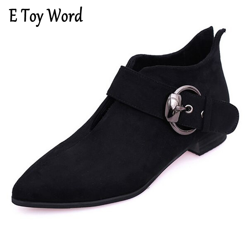 E TOY WORD Fashion Women Autumn Ankle Boots Low Heels Pointed Toe Pumps Woman Short Boots Sexy Buckle Suede Casual Pumps Boots fashion kardashian ankle elastic sock boots chunky high heels stretch women autumn sexy booties pointed toe women pumps botas