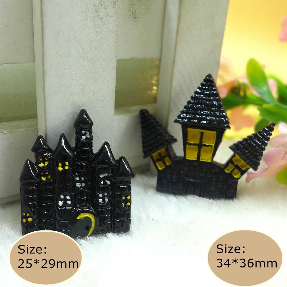 10pcs halloween witch castle flatback resin cabochon embellishment diy accessories scrapbooking crafts for decoration - Religious Halloween Crafts