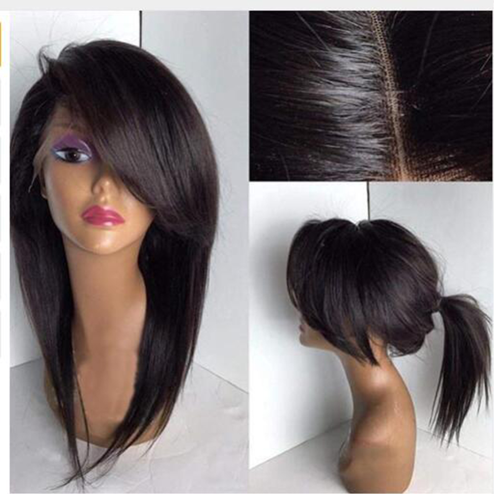 Simbeauty Silky Straight Lace Front Human Hair Wig With Bangs Brazilian Human Hair Wig Glueless 360 Lace Frontal Wigs For Women