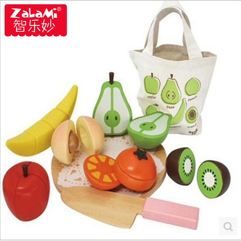 Wooden Beech Kitchen Fruit Cutting Set For Children Kids Learning Education Intelligence Model Food Cooking Toys Gift