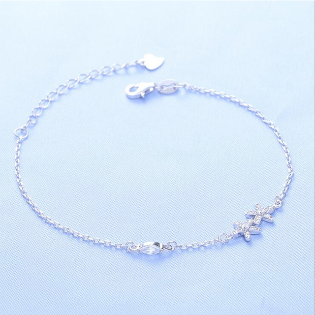 S925 Sterling Silver Chain Link Bracelet for Women Ladies Shining Star Jewelry Gift Wholesale Price
