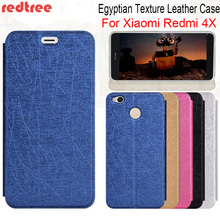 REDTREE Silk Pattern Case for Xiaomi Redmi 4X 4A Egyptian Texture Flip Cover Wallet Smartphone Leather Case for Xiomi Redmi4X