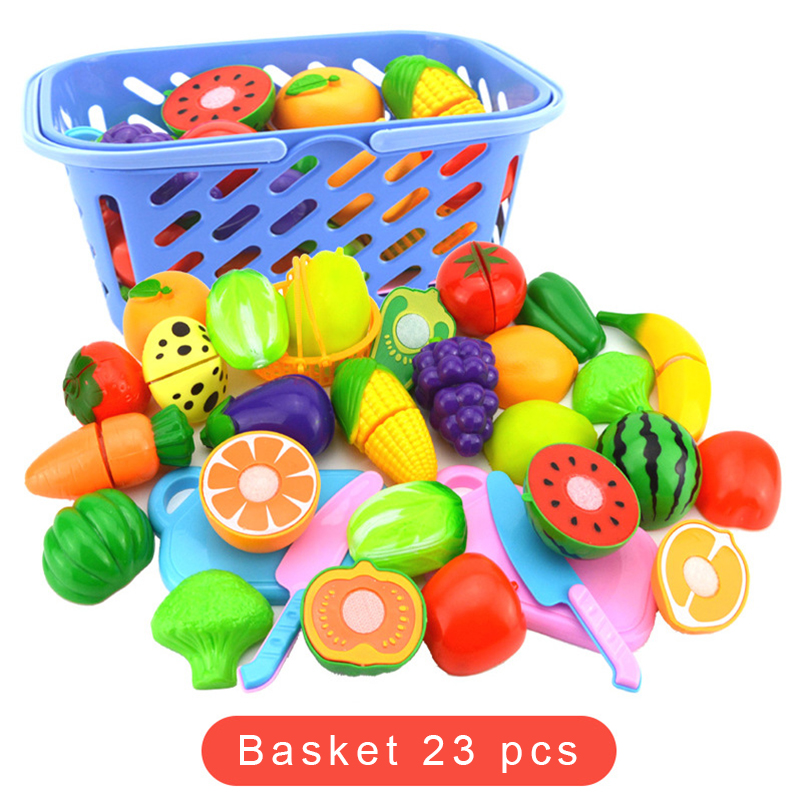 8-24PCS Children Kitchen Toy Cooking Tableware Plastic Fruit Vegetable Food Cutting Play House Education Toys Sets Gift