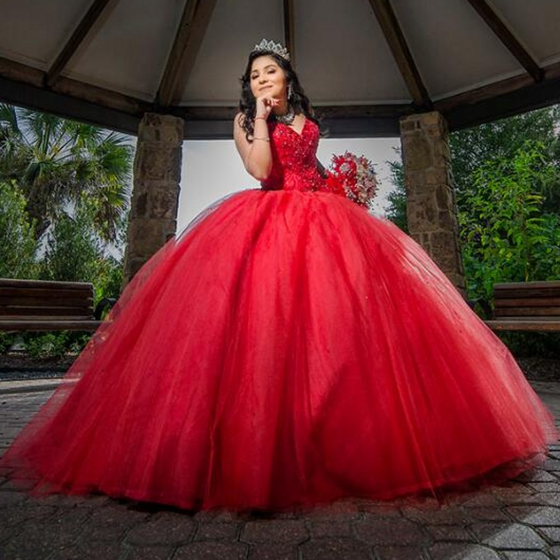 Long Red Ball Gown Quinceanera Dresses Beading Crystals Sweet 16 Years For 15 Year Birthday Party Prom Gowns Vestido De 15 Anos Quinceanera Dresses Aliexpress