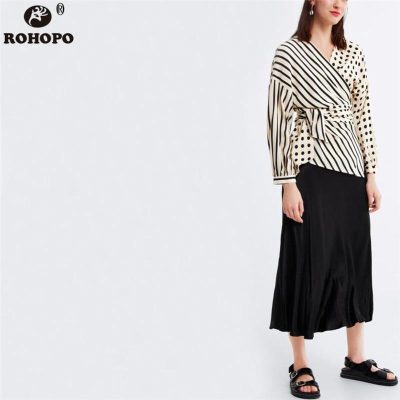 ROHOPO Women Polka Dot Chiffon Blouse Patchwork Striped Belted Bow Autumn Top Shirt Long Sleeve Tunic Clothe #AZ9289