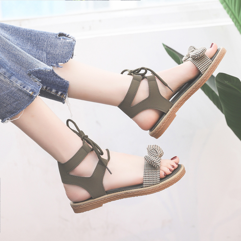 Sandals women's flat shoes bow 2019 summer new students cute fairy trend women's shoes 33