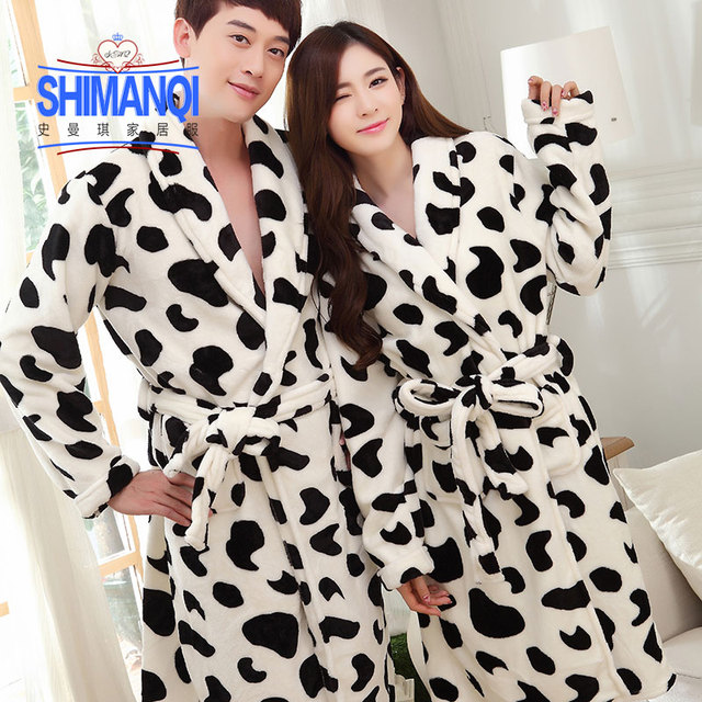 Bath Robe For Lovers Warm Leopard Bathrobes Cows Female Flannel Nightgown Women Letter Nightwear Couples Thick Pajamas Winter