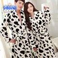 Roupões de Banho Roupão de banho Para Os Amantes de Leopardo Quente Vacas Casais Nightwear Pijama Grossas de Inverno Feminino Flanela Camisola Mulheres Carta