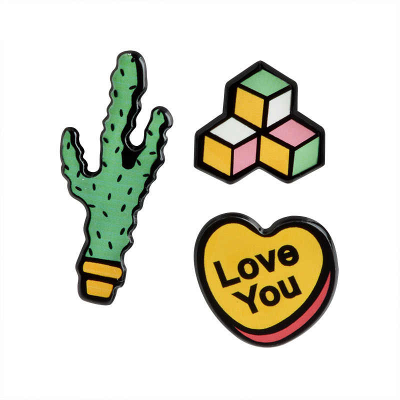 Oil Drop Cute Cactus Pots Beautiful Metal Brooch Pins Button Pins Girl Jeans Bag Decoration Gift