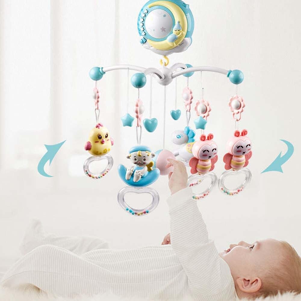 Bébé électronique hochets berceau support de jouet lit rotatif cloche boîte à musique Projection nouveau-né infantile apaiser drôle télécommande jouet