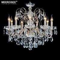 Европейская мода Винтаж люстра лампа 9 руки свеча горит светотехника гладить домашнего освещения E14 E12 современные люстры