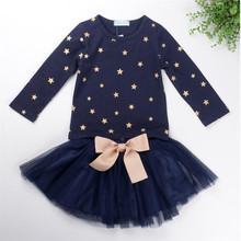 2017 Fashion Spring Boutique Outfits Baby Clothes Girls Sets Cute Print Long Sleeve Tops Bow Tutu Skirts Suits