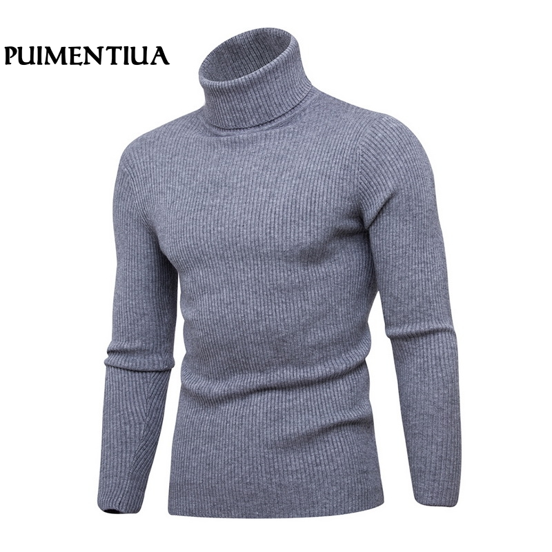 Puimentiua 2019 Autumn Winter Men Solid Pullover Outerwear Male Knitted Long Sleeve High Collar Slim Fit Knitted Sweater Tops
