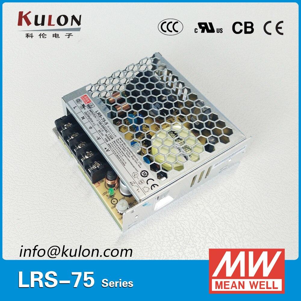 Original Mean well LRS-75 single output 75W 5V/14A 12V/6A 15V/5A 24V/3.2A 36V/2.1A 48V/1.6A meanwell power supply Low Profile цена 2017