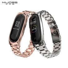 Mijobs Mi Band 3/4 Strap for Xiaomi 3 Wristband Smartwatch Miband 4 Metal Stainless band Wrist Bracelet