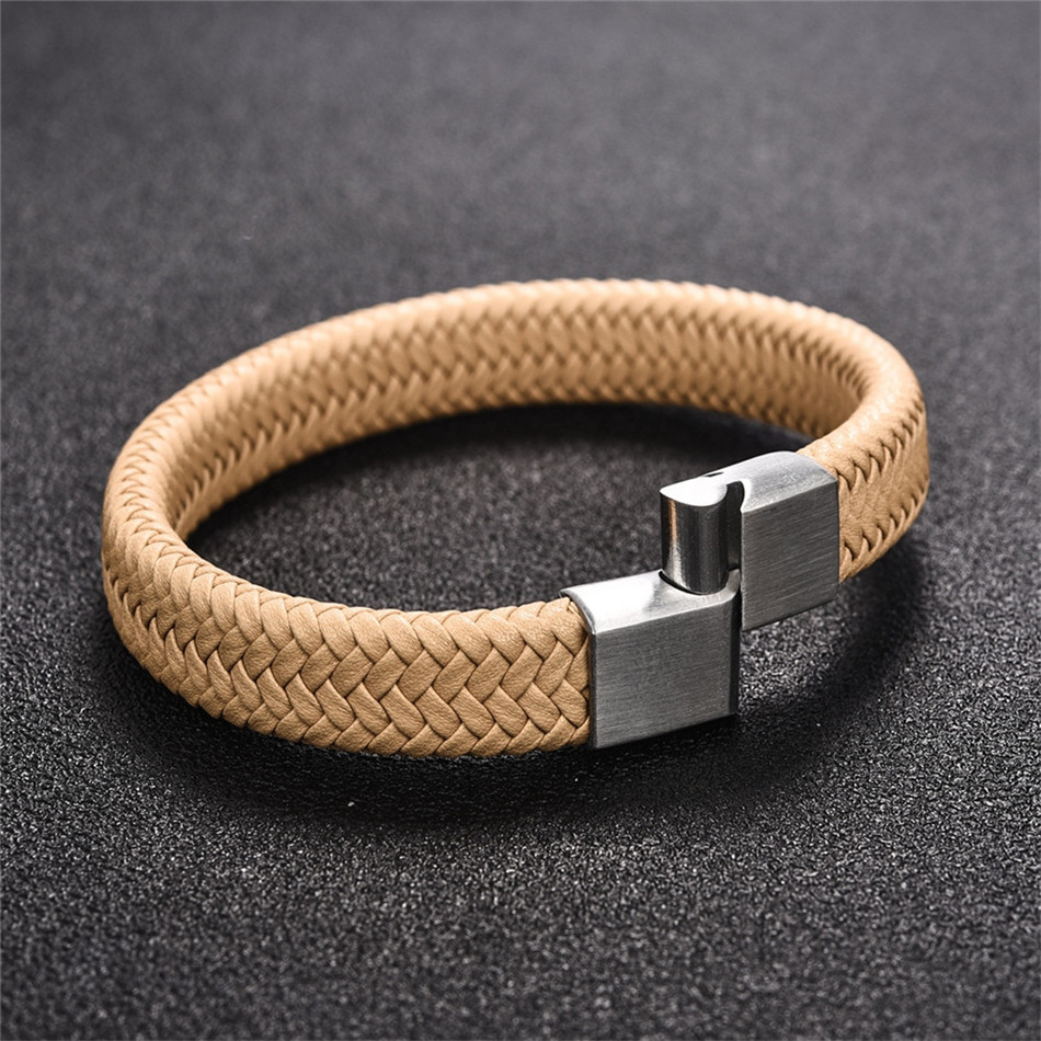 HTB1yqQiaEjrK1RkHFNRq6ySvpXaY - Jiayiqi Punk Men Jewelry Black/Brown Braided Leather Bracelet Stainless Steel Magnetic Clasp Fashion Bangles 18.5/22/20.5cm
