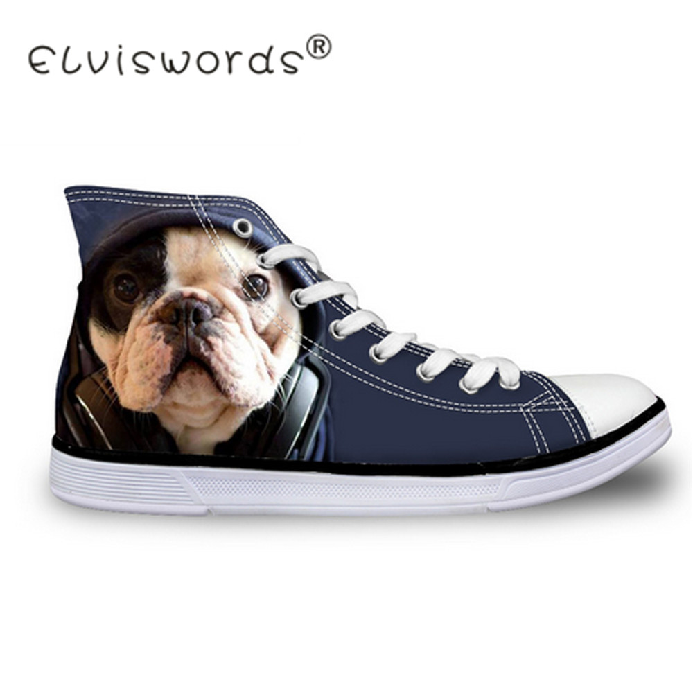 ELVISWORDS Casual 3D Animal French Bulldog Frenchie Printed High Top Women Canvas Shoes Female Lace-up Flats Girls Scarpe Donna