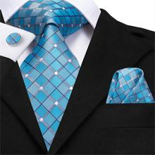 20 Styles Fashion Men's Necktie Silk Tie Set for Men's Party Wedding Luxury Blue Tie Pocket Square Cufflinks Set Ties for Men charming plating white steel cufflinks for men protractor set square pair