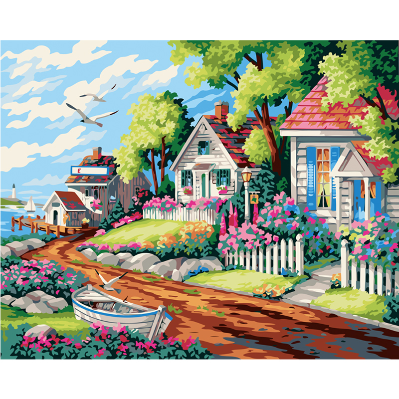 Buy beach house landscape hand painted for Oil paintings for the home