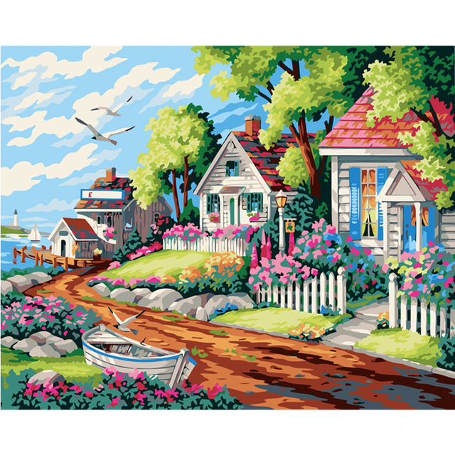 Beach house landscape hand painted canvas oil paintings by for Best paint for yard art