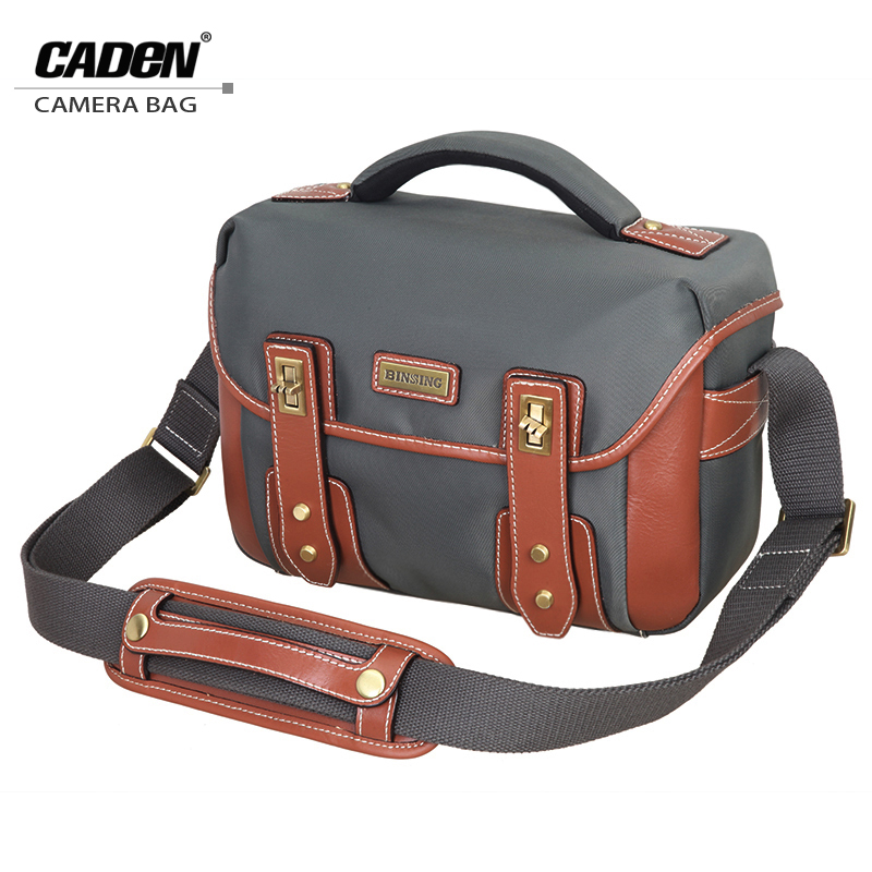 Caden Single Shoulder Camera Photo Bags Leather Digital Video Case Backpack Men Women Camera <font><b>Gray</b></font> Black Bag For <font><b>Canon</b></font> Nikon T