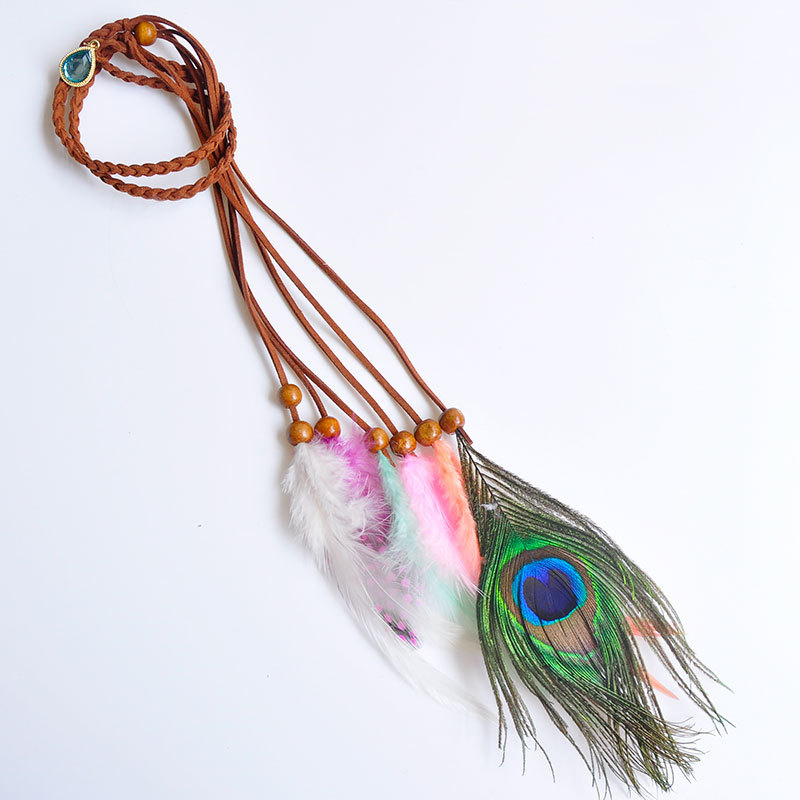 Spot Bohemia Genuine Peacock Feather Hippie Hairbands Ornaments Indian Hoop Gypsy Headwear Hair Jewelry Fairy Style, Item: H010