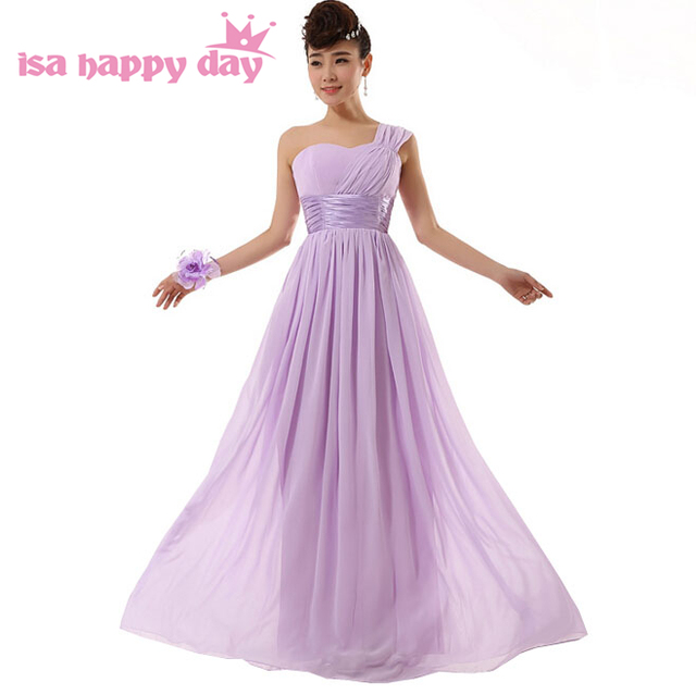 Lila formale chiffon lavendel lange lace up back one shoulder party ...