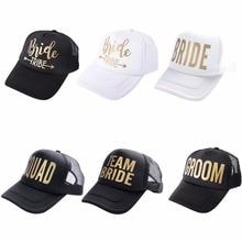 Team Bride Tribe Snapback Trucker Mesh Hat Gold Letters Arrow Printed Wedding Pa
