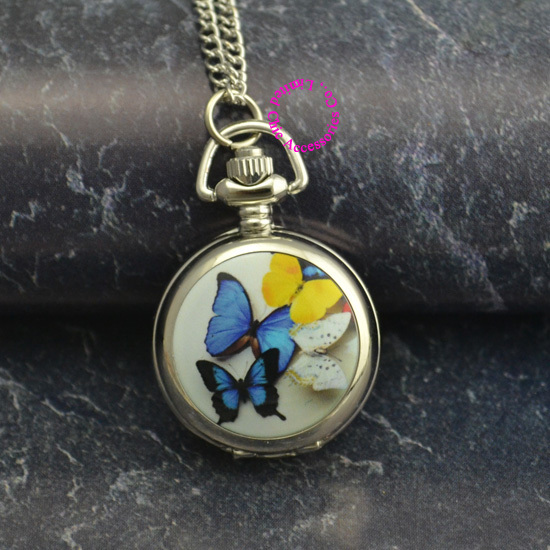 lady girl women silver mirror cute colorful butterfly pocket watch necklace hour