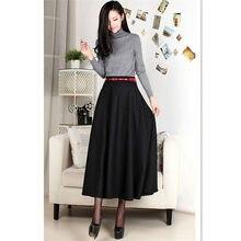 fbacb95ff5 7xl más tamaño 2015 Otoño Invierno alta calidad Maxi mujeres lanas mezclas  calientes Faldas alta cintura negro Oficina falda