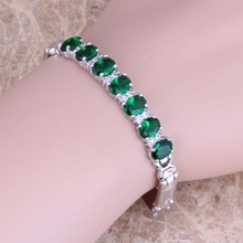 Delicate Green Cubic Zirconia White CZ 925 Sterling Silver Link Chain Bracelet 7 inch S0518
