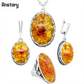Anstory Oval Amber Flower Jewelry Set Necklace Earrings Rings Pendant Antique Silver Plated Stainless Steel Chain TS334