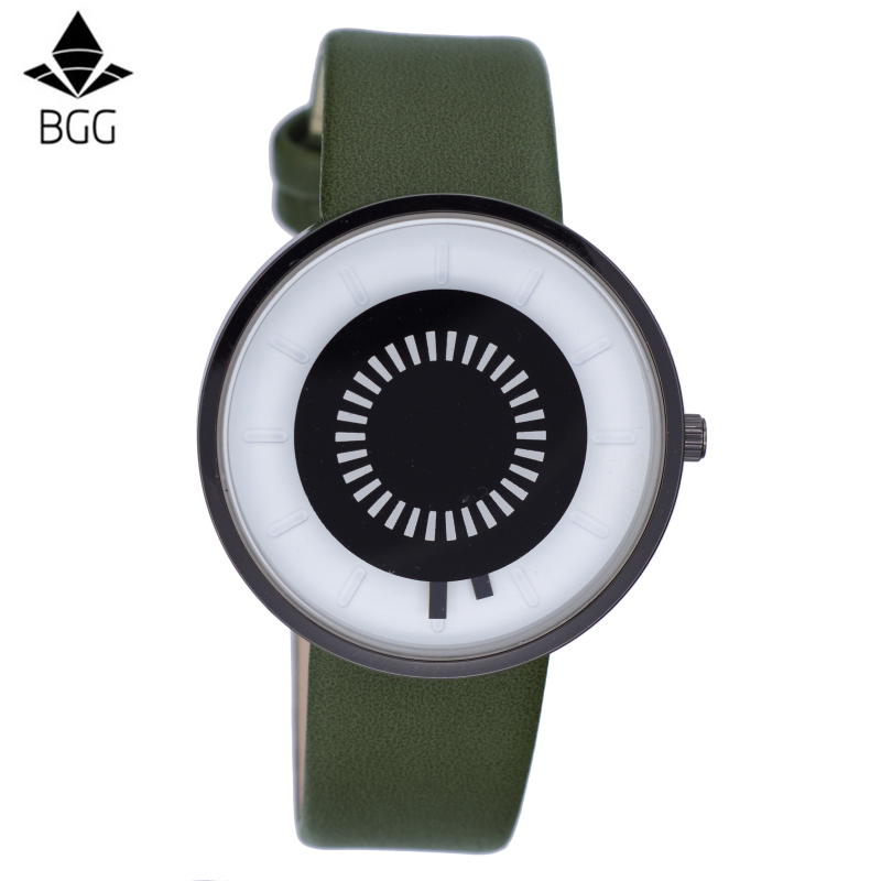 New BGG Brand Design Creative Watches Futuristic Men Women Green Waterproof Quartz Watch Fashion Casual Unique Wristwatch Clock bgg brand creative two turntables dial women men watch stainless mesh boy girl casual quartz watch students watch relogio