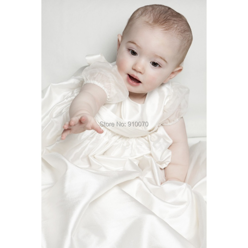2015 New Arrival Imitated Silk Baptism Baby Girls Dresses/Cute White ...