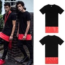 Мужские футболки, мода, мужская одежда в стиле хип-хоп, боковая молния, короткий рукав, искусственная кожа, летняя футболка