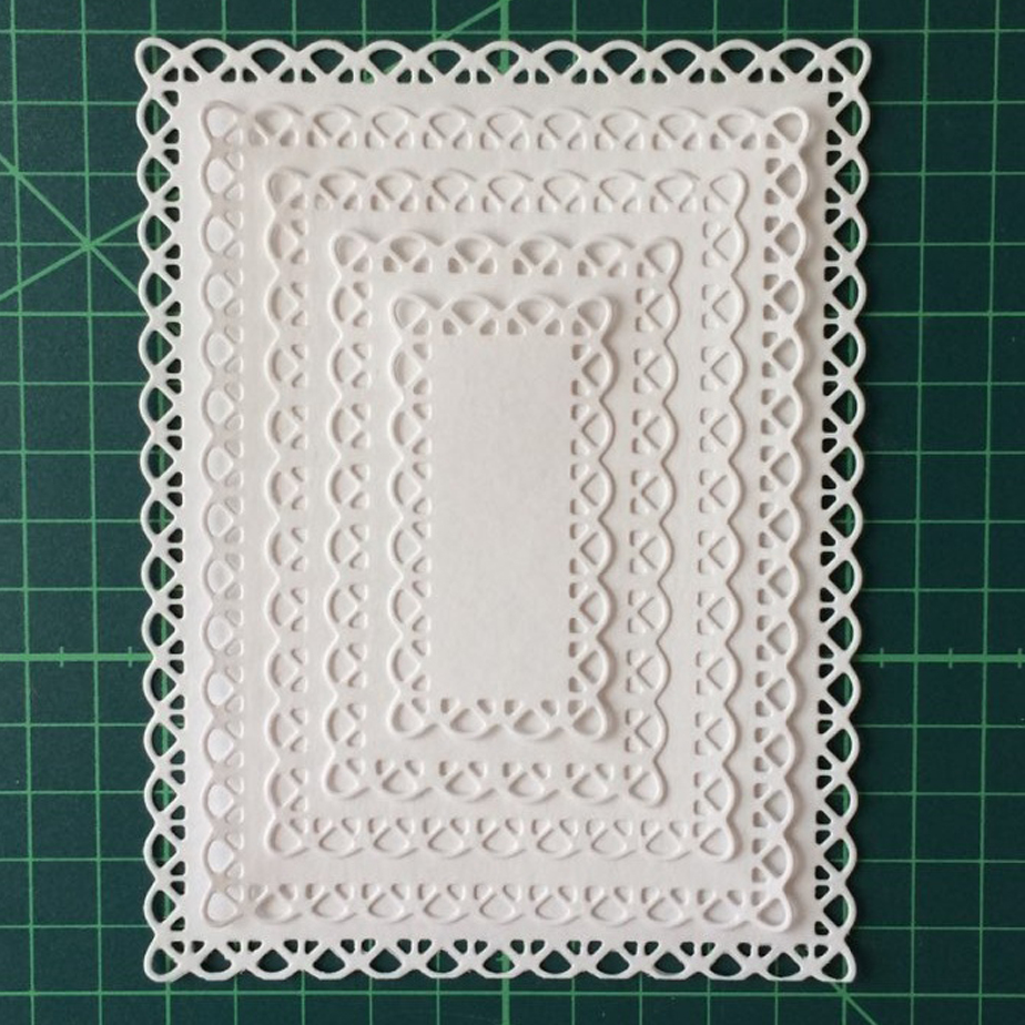 Swovo Nested Stitched Scallop Rectangle Frame Metal Cutting Dies DIY Etched Dies Craft Paper Card Making Scrapbooking Embossing(China)