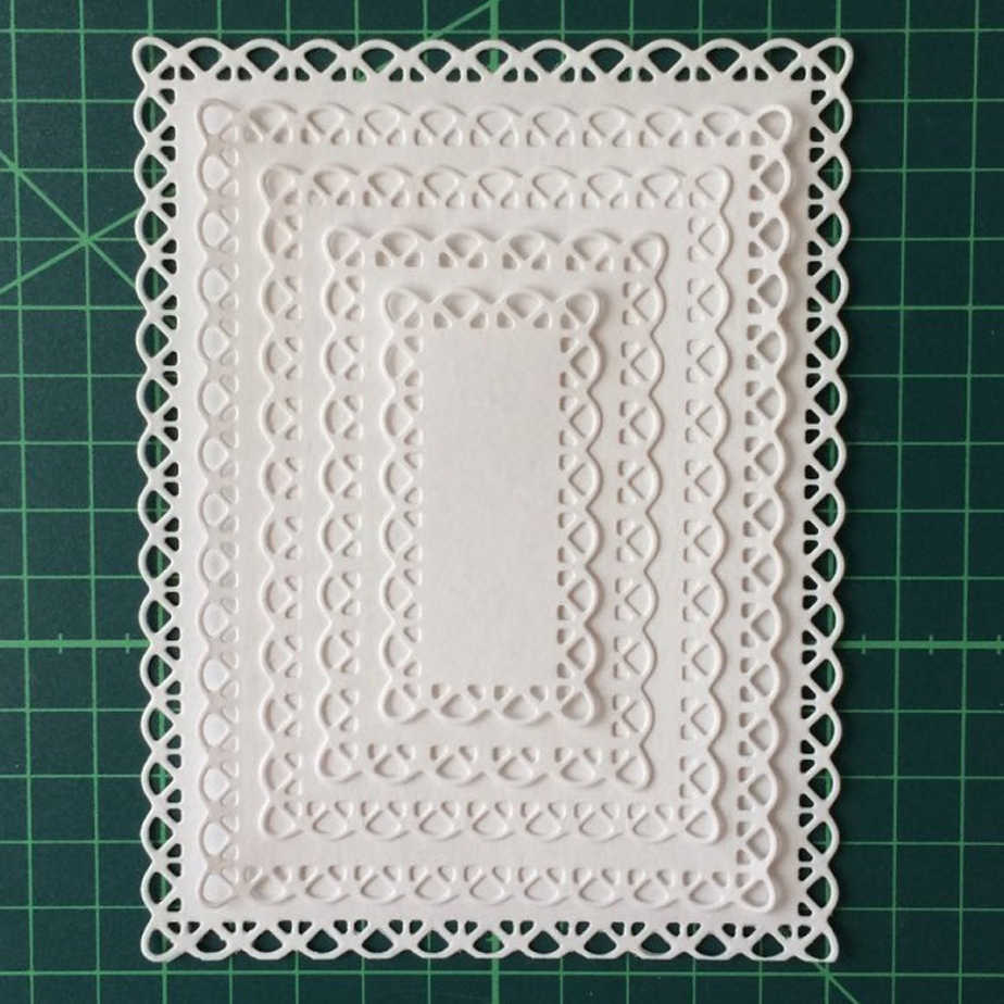 Swovo Nested Stitched Scallop Rectangle Frame Metal Cutting Dies DIY Etched Dies Craft Paper Card Making Scrapbooking Embossing